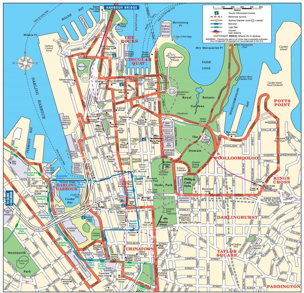 Sydney cbd map Karte von cbd sydney Australien